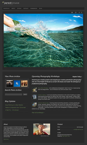 Jared Cruce website using Photo Workshop theme for WordPress