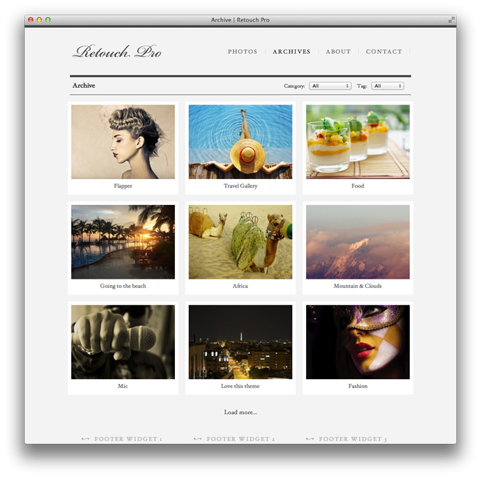 Retouch Pro WordPress Theme Archive Page Template