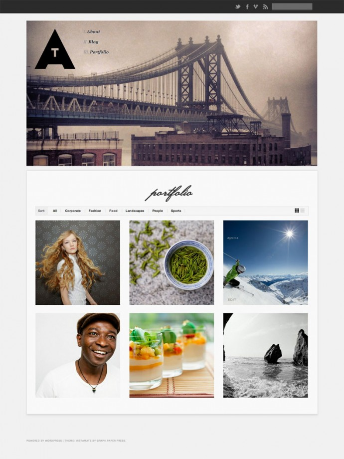 Instamate WordPress portfolio theme
