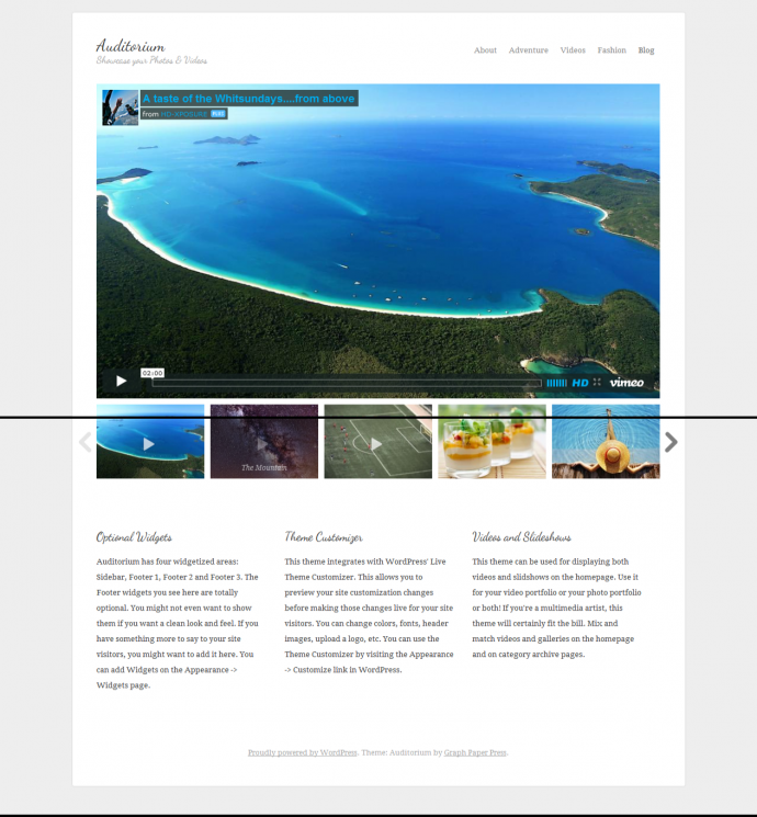 Auditorium  WordPress Responsive Video Theme