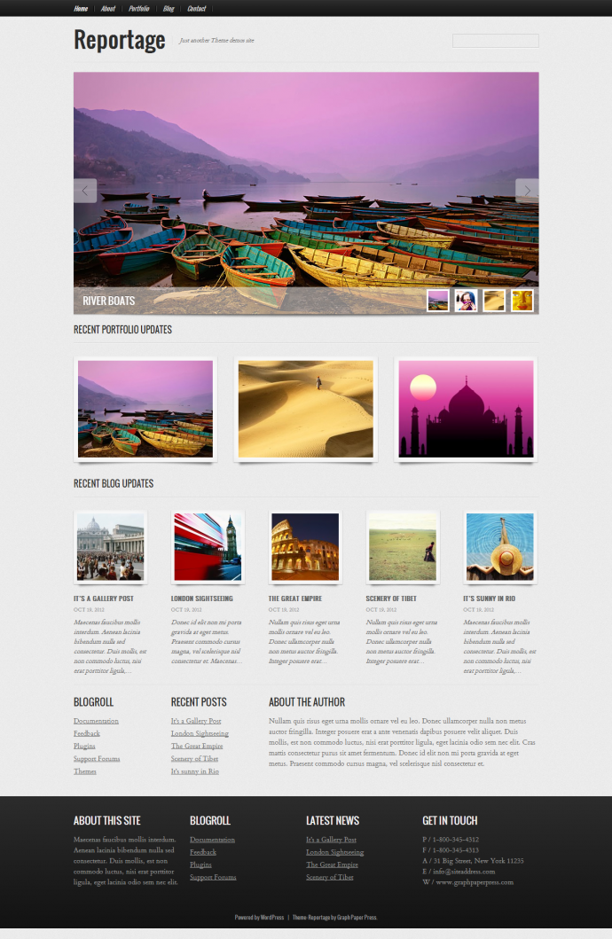 Reportage   Photography WordPress Theme