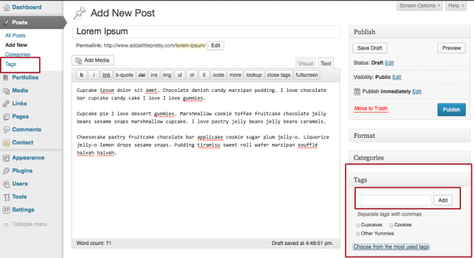 Add tags to your post