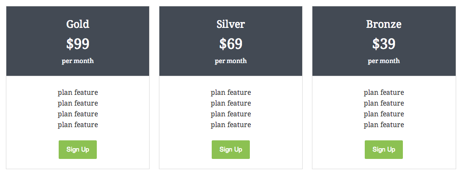 Shrotcode pricing table