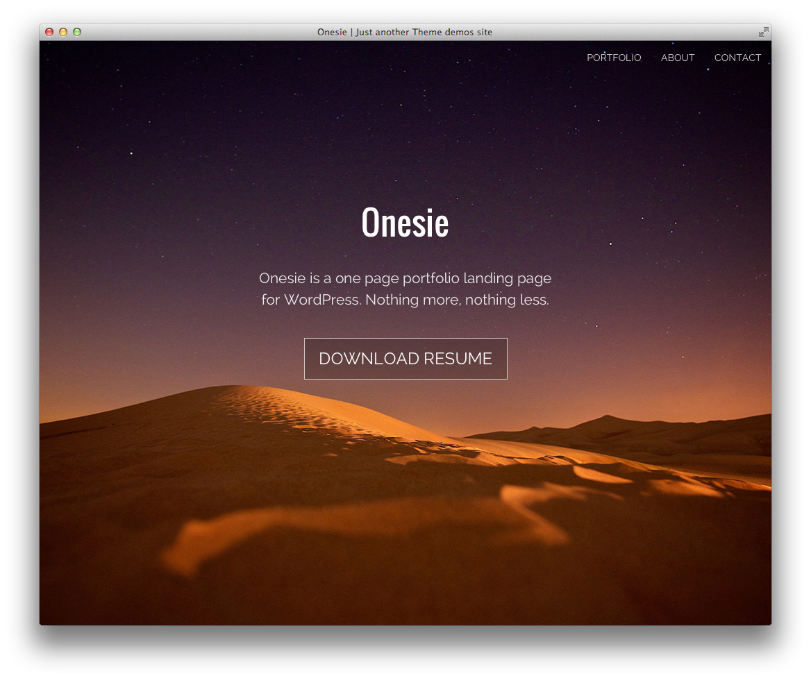 Onesie Free WordPress Landing Page Theme