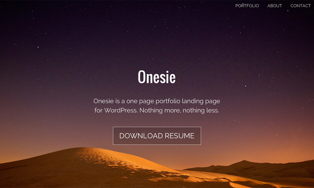 Introducing Onesie A Free Landing Page Theme For WordPress Graph - Wordpress landing page template