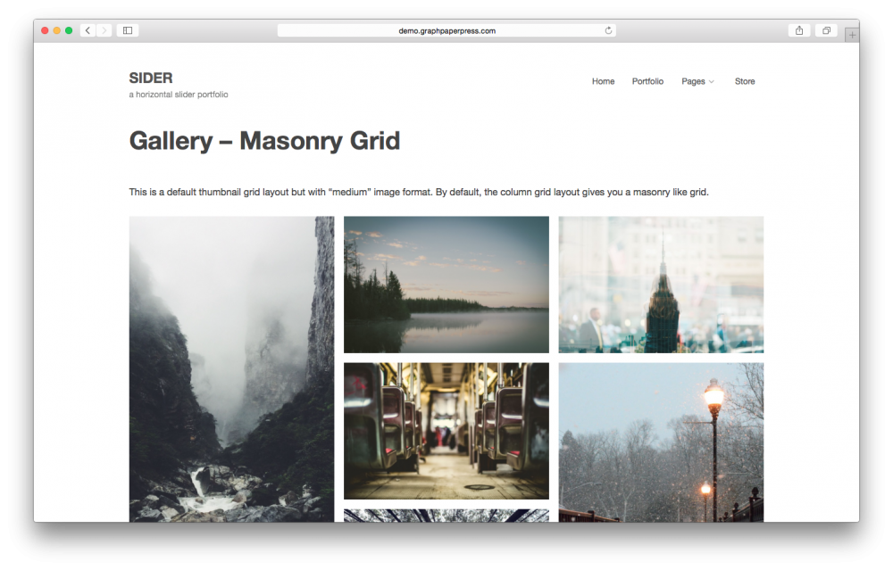Sider horizontal scrolling WordPress theme - Masonry