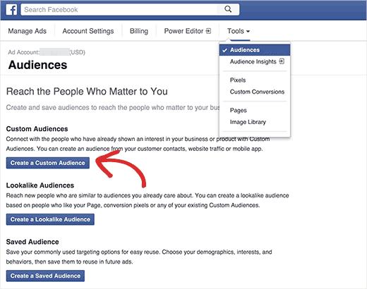 creating custom facebook audience