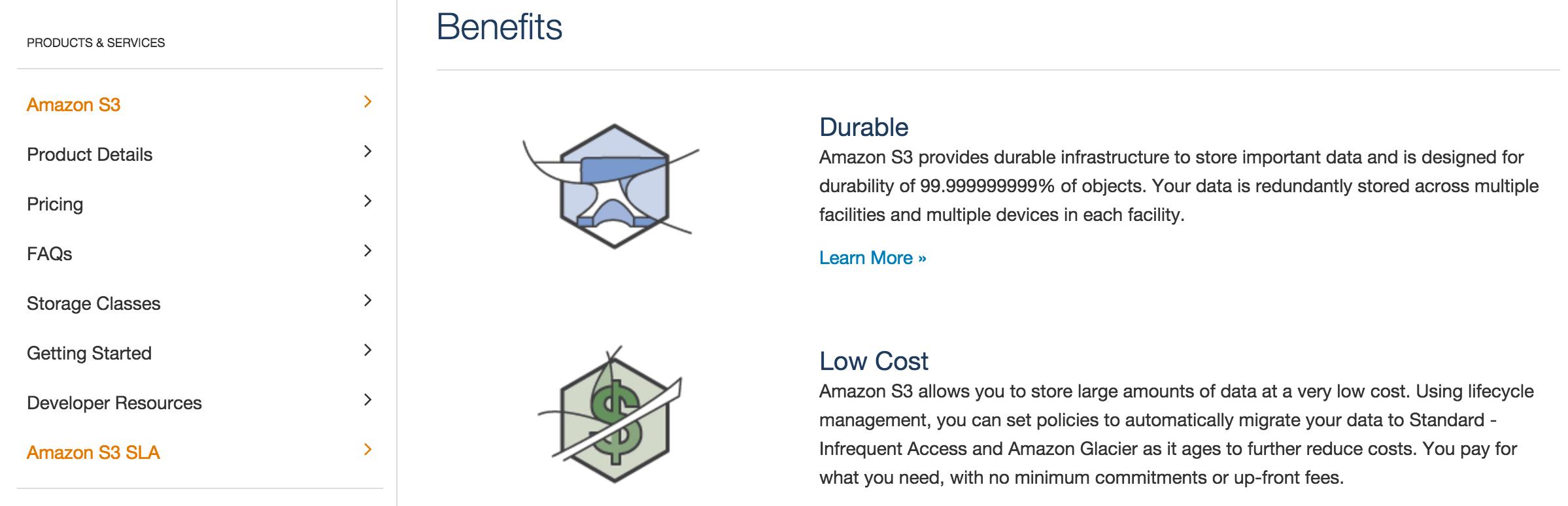 The Amazon S3 homepage.