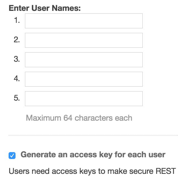 The Enter User Names screen.
