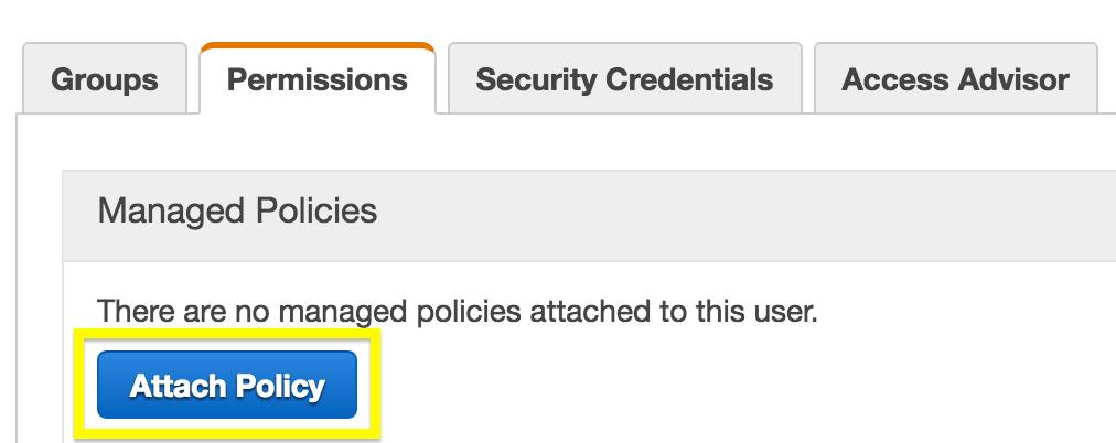 The Attach Policy screen in Amazon S3.
