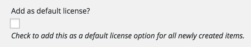 The Default License checkbox.