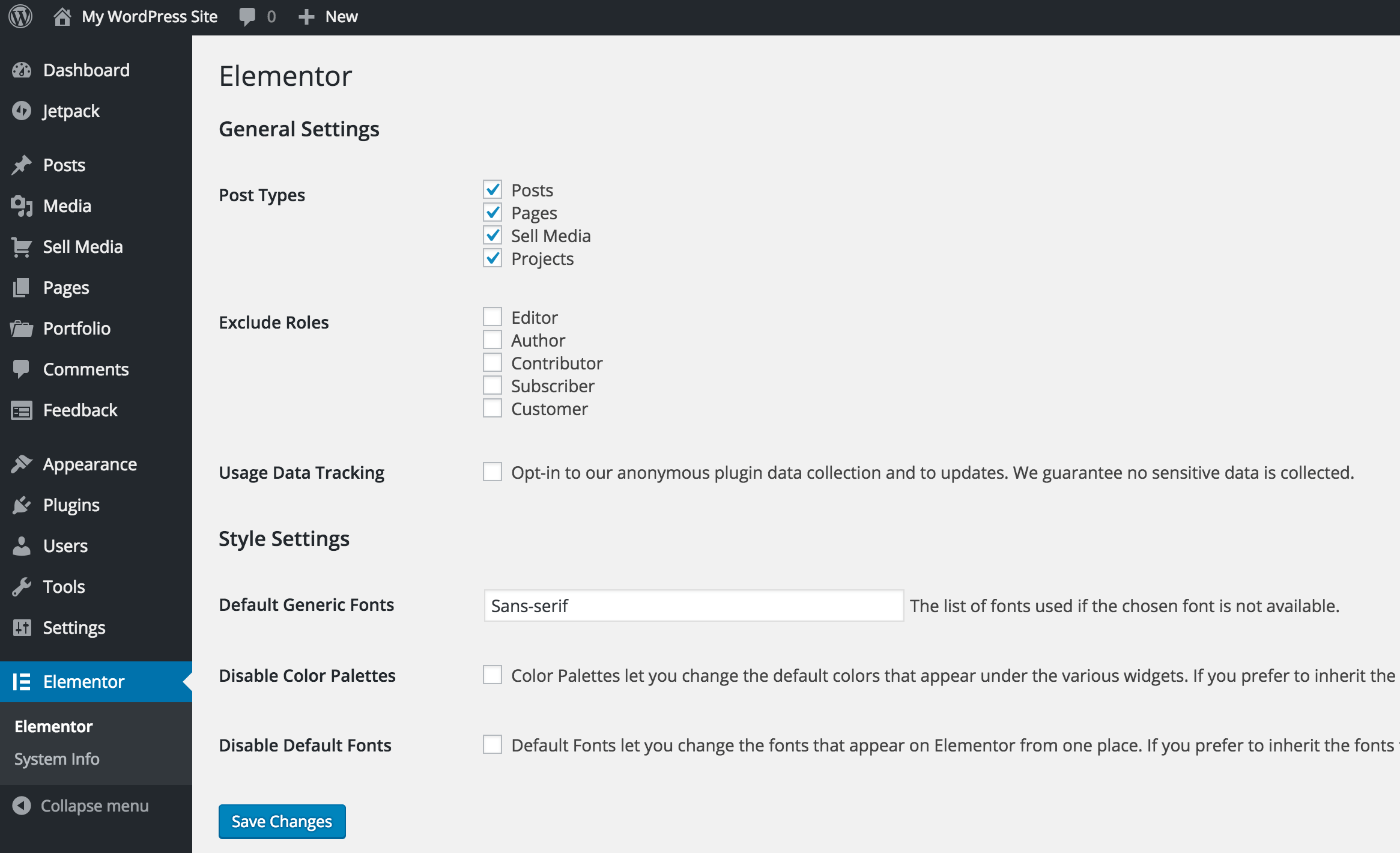 Elementor's General Settings screen.