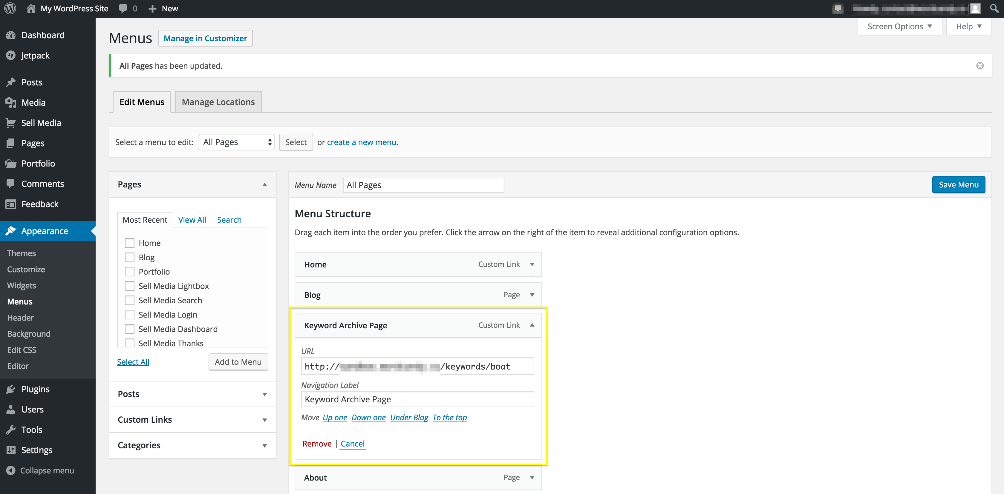 Adding an archive link to a WordPress menu.