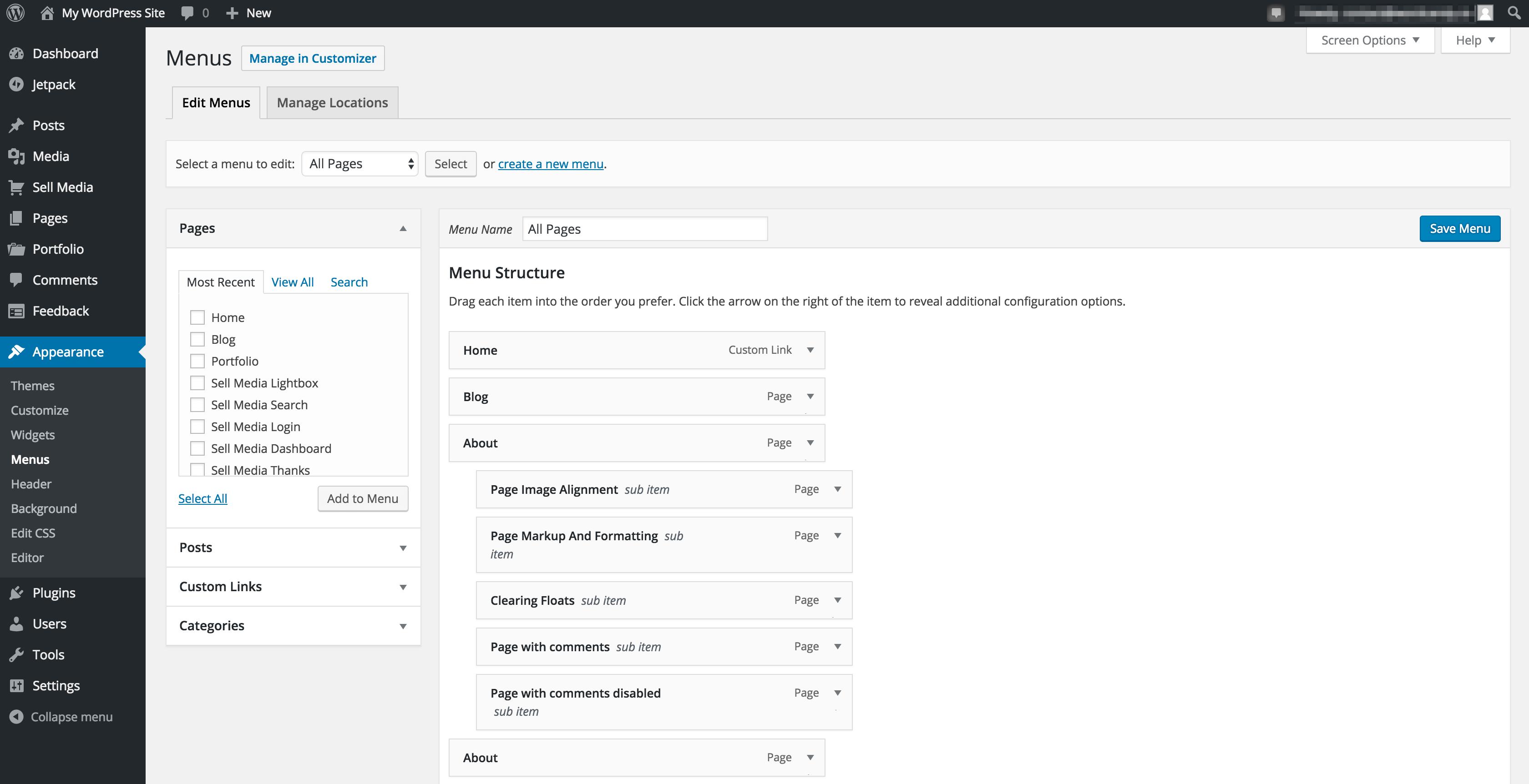 The WordPress Menus screen.