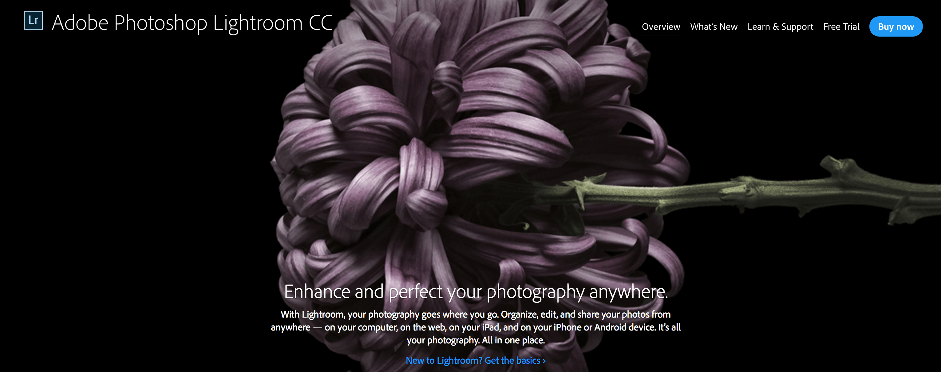 The Adobe Lightroom home page.
