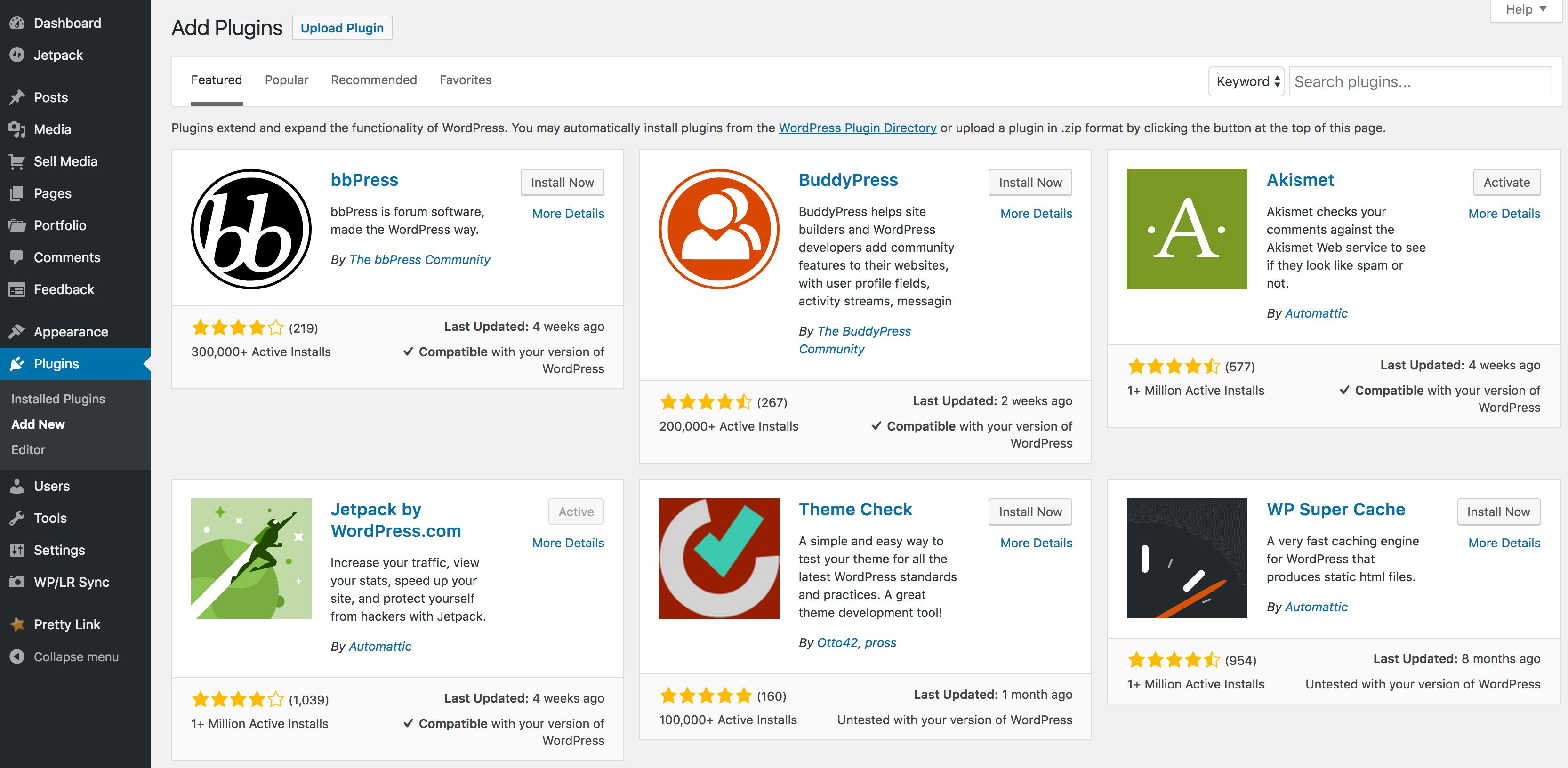 The Add Plugins page.