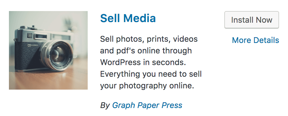 The Sell Media Install Plugin dialog.