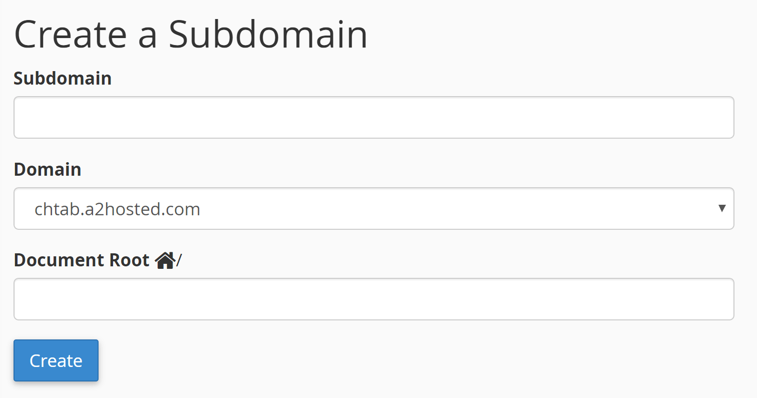 The settings for your subdomain.