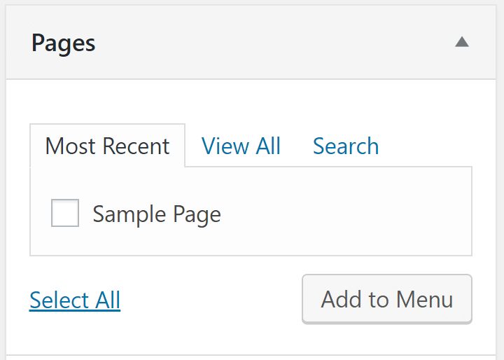 The option to add pages to your WordPress menu.