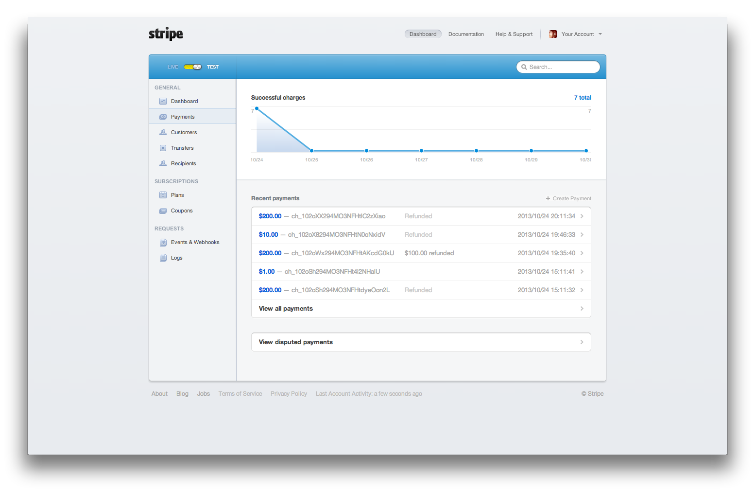 Stripe Payments Admin Page